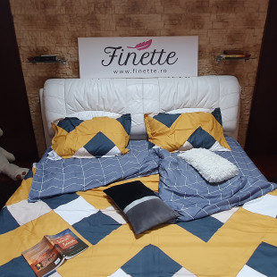 Lenjerie pentru pat dublu, 2 persoane, din bumbac satinat, cu 4 piese - Olivia