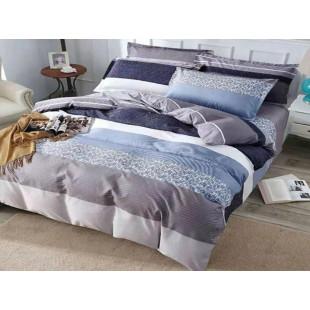 Lenjerie pentru pat dublu, 2 persoane, din bumbac satinat, cu 4 piese - Sia