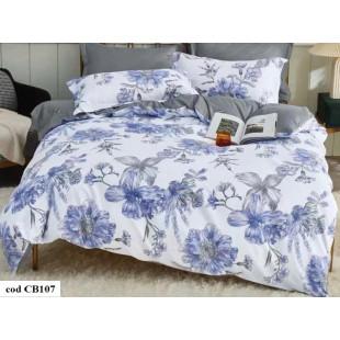 Lenjerie pentru pat dublu, 2 persoane, din bumbac satinat, cu 4 piese - Simina