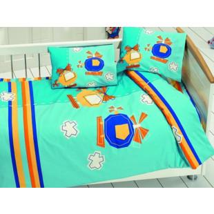 Lenjerie de pat, pentru patut de bebe, 4 piese, Majoli, din bumbac 100% Ranforce - Levi