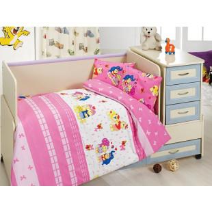 Lenjerie de pat pentru patut de bebe, 4 piese, Majoli, din bumbac 100% Ranforce - Lisa