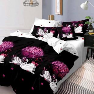 Lenjerie de pat bumbac finet, pentru 2 persoane, cu 6 piese, Ralex Pucioasa - Lorina