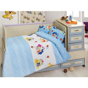 Lenjerie de pat, pentru patut de bebe, 4 piese, Majoli, din bumbac 100% Ranforce - Patrik