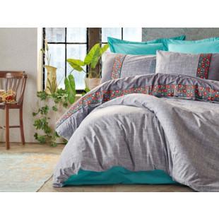 Lenjerie de pat pentru 1 persoana, 3 piese, brodata, Cotton box, din bumbac 100% - Felicia