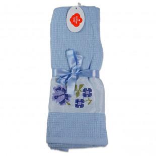 Set 2 prosoape de bucatarie albastre, din bumbac 100%, Cotton box (45x70 cm) - flori