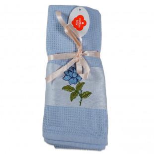 Set 2 prosoape de bucatarie albastre, din bumbac 100%, Cotton box (45x70 cm) - trandafir
