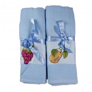 Set 2 prosoape de bucatarie albastre, din bumbac 100%, Cotton box (45x70 cm) - Fructe