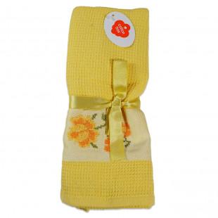 Set 2 prosoape de bucatarie galbene, din bumbac 100%, Cotton box (45x70 cm) - flori