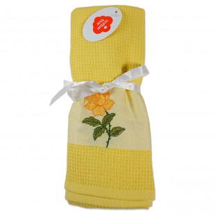 Set 2 prosoape de bucatarie galbene, din bumbac 100%, Cotton box (45x70 cm) - trandafir