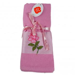 Set 2 prosoape de bucatarie roz, din bumbac 100%, Cotton box (45x70 cm) - trandafir
