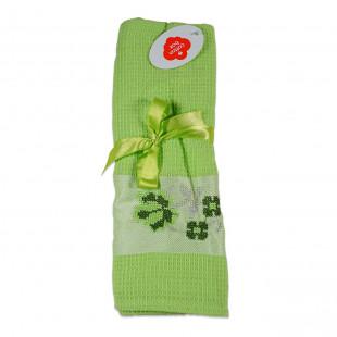 Set 2 prosoape de bucatarie verzi, din bumbac 100%, Cotton box (45x70 cm) - flori