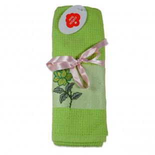 Set 2 prosoape de bucatarie verzi, din bumbac 100%, Cotton box (45x70 cm) - trandafir