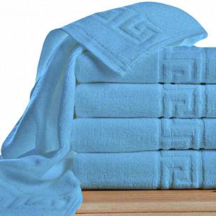 Set 5 prosoape de baie, blue Greek border din bumbac 100% Ralex Pucioasa 50x90 cm