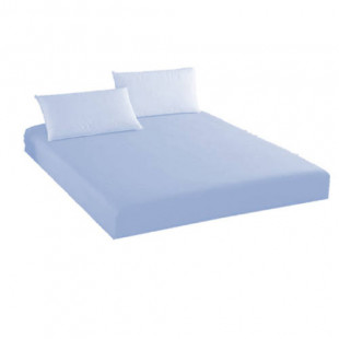 Set cearceaf de pat cu elastic din bumbac, 160x200 cm cu 2 fete de perna 50x70 cm ( albastru ) Ralex Pucioasa