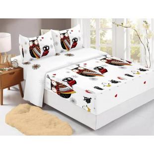 Set cearceaf de pat din bumbac finet cu elastic, 180x200 cm cu 2 fete de perna, Ralex Pucioasa Laura