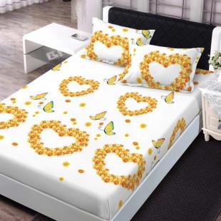 Set cearceaf de pat din bumbac finet cu elastic, 160x200 cm cu 2 fete de perna, Ralex Pucioasa - Clara