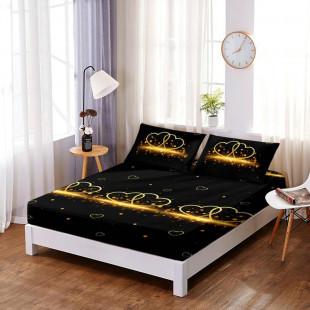 Set cearceaf de pat din bumbac finet cu elastic, 160x200 cm cu 2 fete de perna, Ralex Pucioasa - Gianina