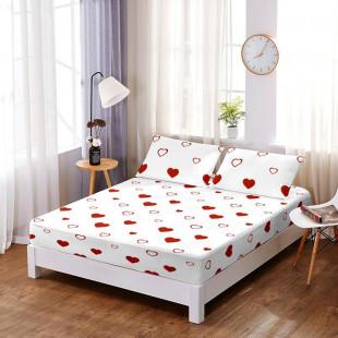 Set cearceaf de pat din bumbac finet cu elastic, 160x200 cm cu 2 fete de perna, Ralex Pucioasa - Gina