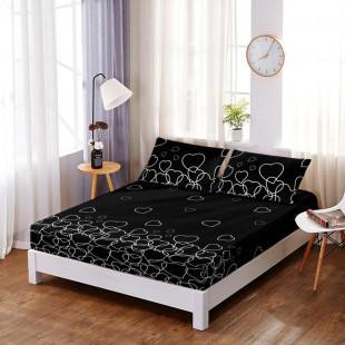 Set cearceaf de pat din bumbac finet cu elastic, 160x200 cm cu 2 fete de perna, Ralex Pucioasa - Keyla