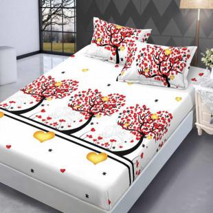Set cearceaf de pat din bumbac finet cu elastic, 160x200 cm cu 2 fete de perna, Ralex Pucioasa - Lisa
