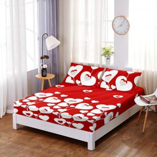 Set cearceaf de pat din bumbac finet cu elastic, 160x200 cm cu 2 fete de perna, Ralex Pucioasa - Lora