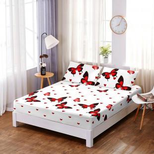 Set cearceaf de pat din bumbac finet cu elastic, 160x200 cm cu 2 fete de perna, Ralex Pucioasa - Luisa