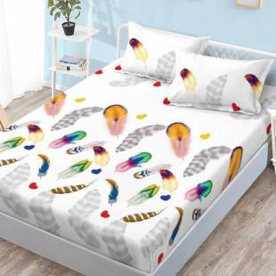 Set cearceaf de pat din bumbac finet cu elastic, 160x200 cm cu 2 fete de perna, Ralex Pucioasa - Olivia