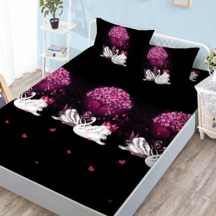 Set cearceaf de pat din bumbac finet cu elastic, 160x200 cm cu 2 fete de perna, Ralex Pucioasa - Patricia