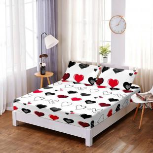 Set cearceaf de pat din bumbac finet cu elastic, 160x200 cm cu 2 fete de perna, Ralex Pucioasa - Paula