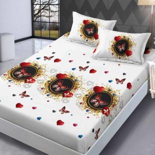 Set cearceaf de pat din bumbac finet cu elastic, 160x200 cm cu 2 fete de perna, Ralex Pucioasa - Silvia