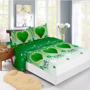 Set cearceaf de pat din bumbac finet cu elastic, 160x200 cm cu 2 fete de perna, Ralex Pucioasa Delia