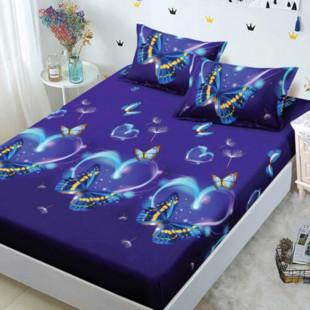 Set cearceaf de pat din bumbac finet cu elastic, 160x200 cm cu 2 fete de perna, Ralex Pucioasa Dina
