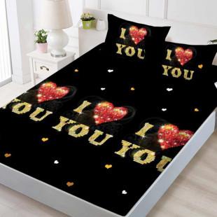 Set cearceaf de pat din bumbac finet cu elastic, 160x200 cm cu 2 fete de perna, Ralex Pucioasa Eliss