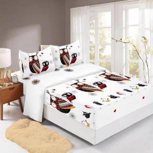 Set cearceaf de pat din bumbac finet cu elastic, 160x200 cm cu 2 fete de perna, Ralex Pucioasa Laura