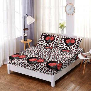 Set cearceaf de pat din bumbac finet cu elastic, 160x200 cm cu 2 fete de perna, Ralex Pucioasa Oli