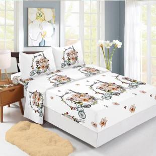 Set cearceaf de pat din bumbac finet cu elastic, 160x200 cm cu 2 fete de perna, Ralex Pucioasa Semida