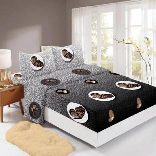 Set cearceaf de pat din bumbac finet cu elastic, 160x200 cm cu 2 fete de perna, Ralex Pucioasa Alice