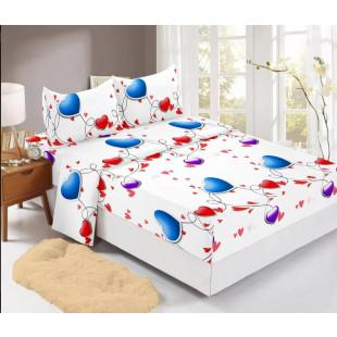 Set cearceaf de pat din bumbac finet cu elastic, 180x200 cm cu 2 fete de perna, Ralex Pucioasa Nina