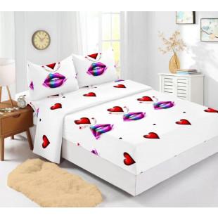 Set cearceaf de pat din bumbac finet cu elastic, 180x200 cm cu 2 fete de perna, Ralex Pucioasa Caro
