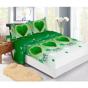 Set cearceaf de pat din bumbac finet cu elastic, 180x200 cm cu 2 fete de perna, Ralex Pucioasa Delia