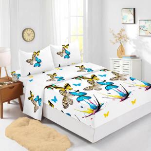Set cearceaf de pat din bumbac finet cu elastic, 160x200 cm cu 2 fete de perna, Ralex Pucioasa