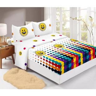 Set cearceaf de pat din bumbac finet cu elastic, 180x200 cm cu 2 fete de perna, Ralex Pucioasa Luana