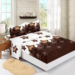 Set cearceaf de pat din bumbac finet cu elastic, 180x200 cm cu 2 fete de perna, Ralex Pucioasa Mina