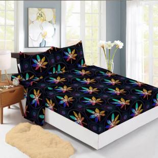 Set cearceaf de pat din bumbac finet cu elastic, 180x200 cm cu 2 fete de perna, Ralex Pucioasa Nadina