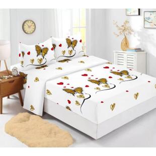 Set cearceaf de pat din bumbac finet cu elastic, 180x200 cm cu 2 fete de perna, Ralex Pucioasa Monalisa