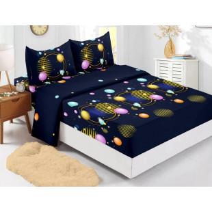 Set cearceaf de pat din bumbac finet cu elastic, 180x200 cm cu 2 fete de perna, Ralex Pucioasa Daniela