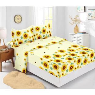 Set cearceaf de pat din bumbac finet cu elastic, 180x200 cm cu 2 fete de perna, Ralex Pucioasa Sorina