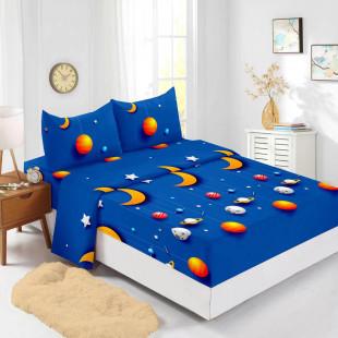 Set cearceaf de pat din bumbac finet cu elastic, 180x200 cm cu 2 fete de perna, Ralex Pucioasa Space