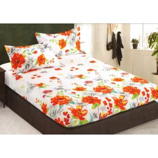Set cearceaf de pat din bumbac satinat cu elastic, 180x200 cm cu 2 fete de perna, Casa New Concept - Melisa