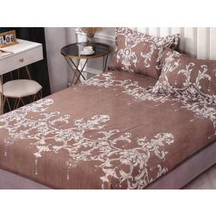 Set cearceaf de pat din bumbac satinat cu elastic, 180x200 cm cu 2 fete de perna, Casa New Concept - Lisa